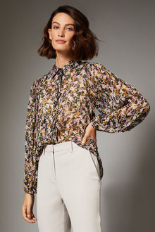 Grace Hill Chiffon Blouson Sleeve Shirt - 257009