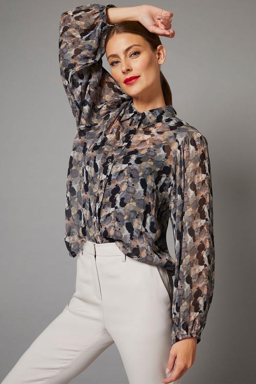 Grace Hill Chiffon Blouson Sleeve Shirt