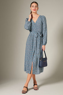 Grace Hill V Neck Long Sleeve Midi Dress - 257010