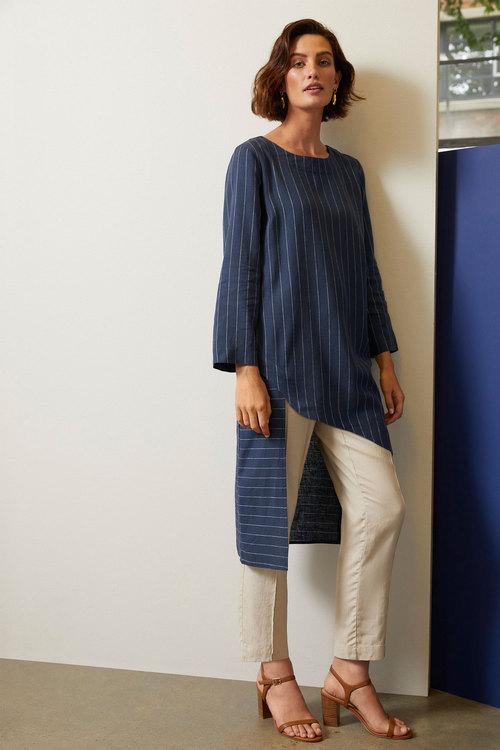 Grace Hill Linen Blend Asymmetric Tunic