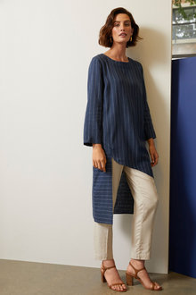 Grace Hill Linen Blend Asymmetric Tunic - 257023