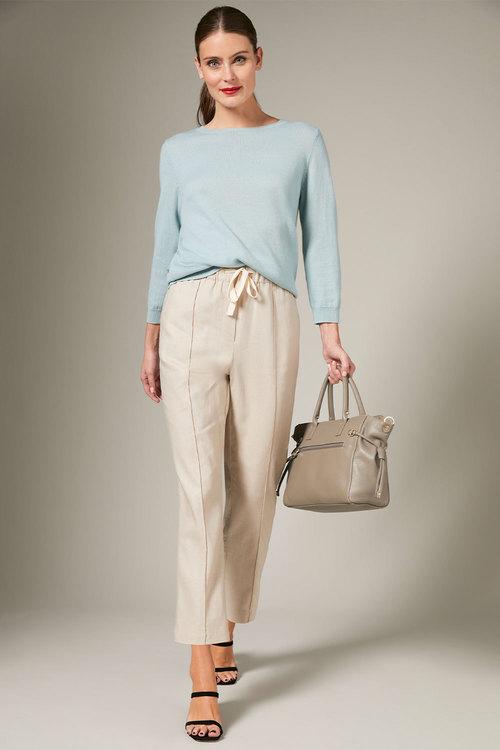 Grace Hill Linen Blend Seam Front Pant