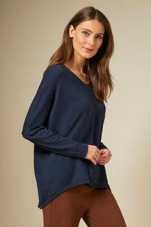 Grace Hill Cashmere Blend V Neck Sweater - 257057