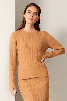 Grace Hill Cable Knit Crew Neck Sweater - 257059