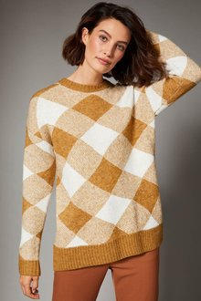 Grace Hill Check Sweater - 257063