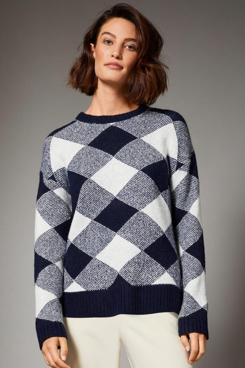 Grace Hill Check Sweater
