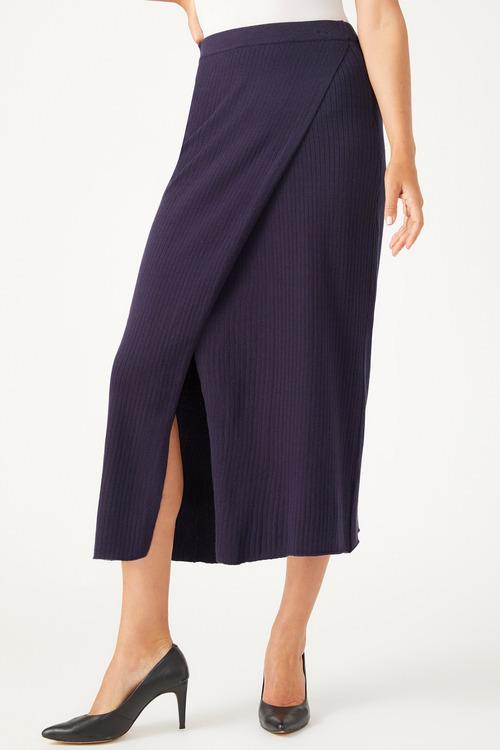 Grace Hill Ribbed Knit Wrap Skirt