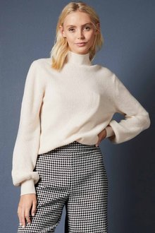 Emerge Merino Ribbed HighNeck Sweater - 257100