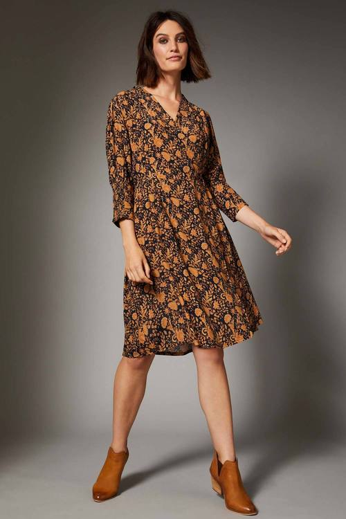 Emerge Mock Wrap 3/4 Sleeve Dress