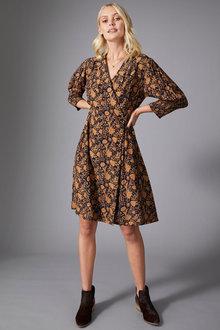 Emerge Mock Wrap 3/4 Sleeve Dress - 257120