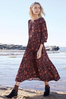 Emerge Tiered Long Sleeve Midi Dress - 257121