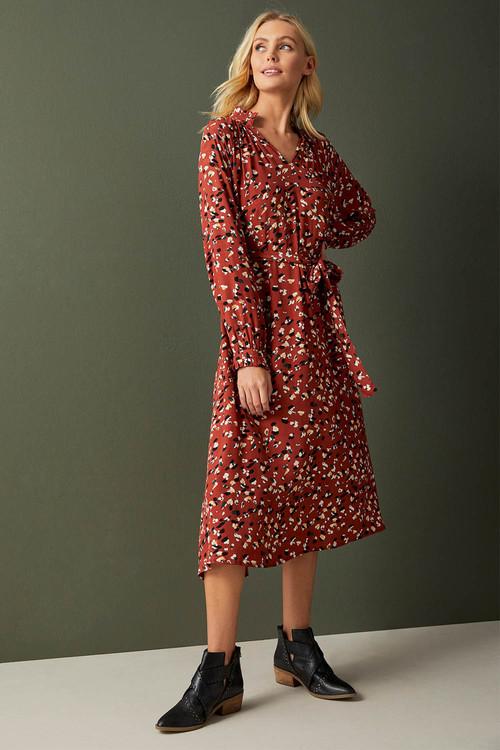 Emerge Ruffle Tie Neck Midi Dress