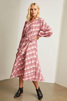 Emerge Ruffle Tie Neck Midi Dress - 257122