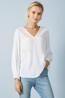 Emerge Broderie Detail Crinkle Top - 257124