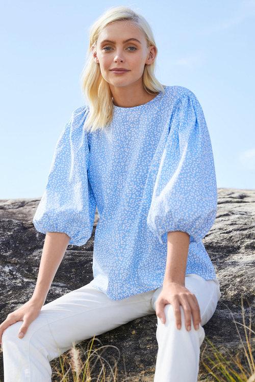 Emerge Cotton Puff Sleeve Top