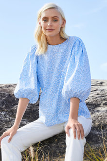 Emerge Cotton Puff Sleeve Top - 257130