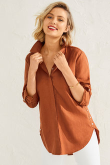 Capture Linen Blend Button Shirt - 257134