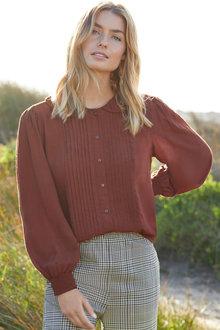 Capture Pintuck Shirred Sleeve Shirt - 257141