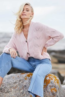 Emerge Cable Cotton Cardigan - 257161