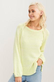 Emerge Cotton Blend Gather Sleeve Sweater - 257162