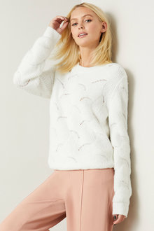 Emerge Scalloped Stitch Sweater - 257163