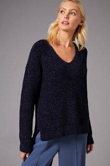Emerge Chenille V Neck Sweater - 257169