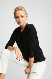 Emerge Boucle V Neck Sweater - 257170