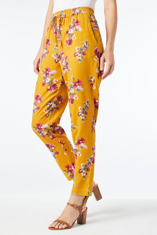 Capture Linen Blend Pull on Print Pant