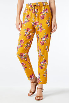 Capture Linen Blend Pull on Print Pant - 257175