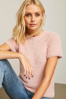 Emerge Fluffy Short Sleeve Sweater - 257218
