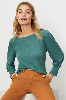 Emerge Puff Sleeve Knit Top - 257220