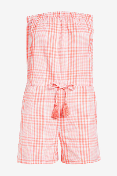 Next Textured Bandeau Playsuit-Tall