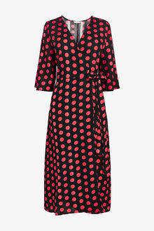 Next Printed Wrap Dress - 257487