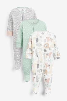 Next 3 Pack GOTS Organic Character Sleepsuits (0mths-2yrs) - 257529