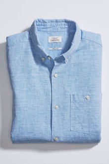 Next Linen Blend Short Sleeve Shirt - 257540