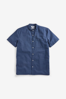 Next Cotton/Linen Grandad Collar Shirt - 257541