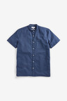 Next Cotton/Linen Grandad Collar Shirt