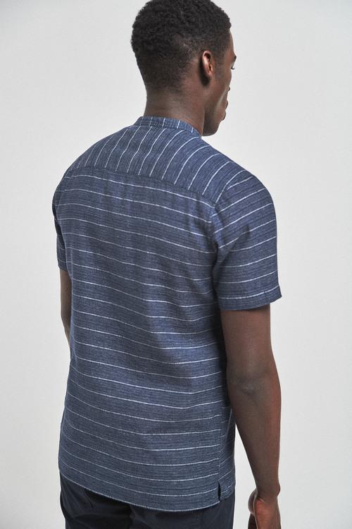 Next Linen Blend Grandad Collar Stripe Short Sleeve Shirt