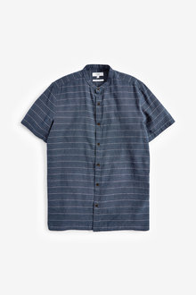 Next Linen Blend Grandad Collar Stripe Short Sleeve Shirt - 257545