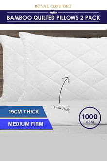 Royal Comfort Luxury Bamboo Quilted Pillow Twin Pack - 257555