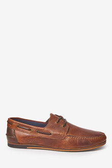 Next Formal Textured Leather Boat Shoes - 257577