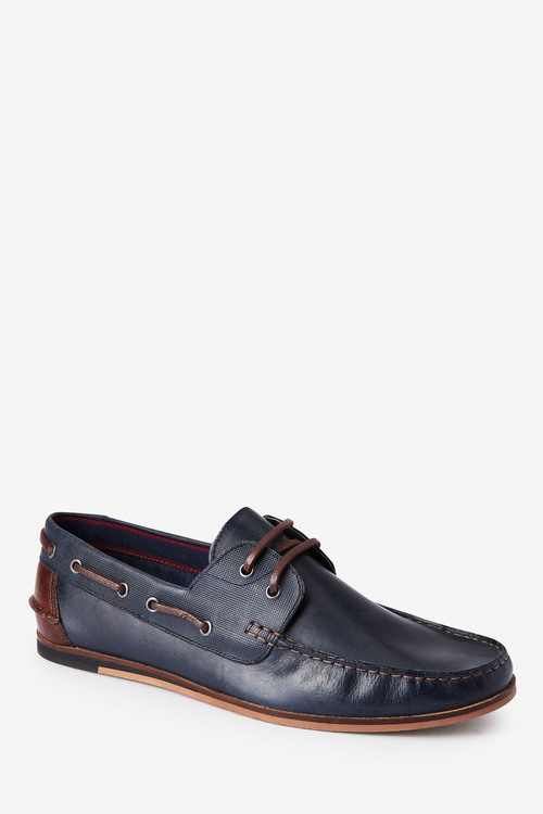 Next Formal Textured Leather Boat Shoes