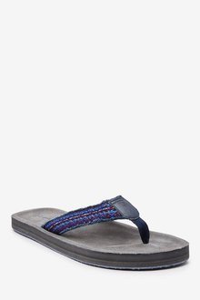 Next Suede Fray Flip Flops - 257583