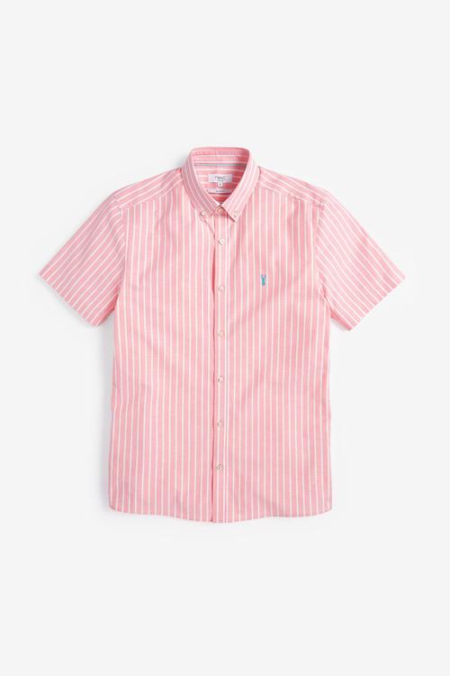 Next Stripe Short Sleeve Stretch Oxford Shirt