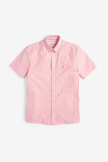 Next Stripe Short Sleeve Stretch Oxford Shirt - 257588