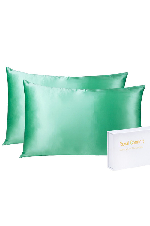 Royal Comfort Mint Silk Pillowcase Twin Pack