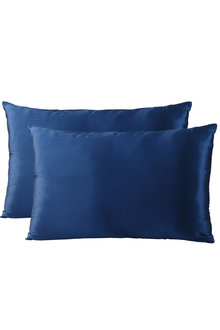 Royal Comfort Navy Silk Pillowcase Twin Pack - 257598