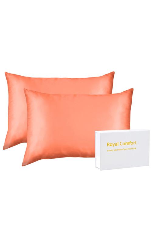 Royal Comfort Coral Silk Pillowcase Twin Pack
