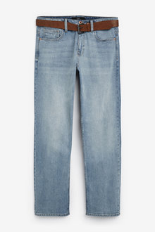 Next Belted Jeans With Stretch-Straight Fit - 257620
