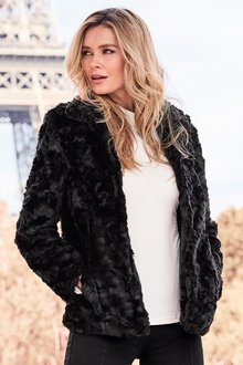 Kaleidoscope Crushed Faux Fur Jacket - 257683